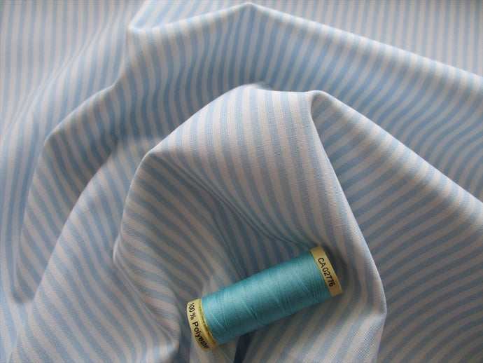 Candy Stripe 3mm Baby Blue & White 100% Cotton