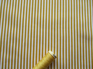 Candy Stripe 3mm Mustard Gold & White 100% Cotton
