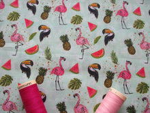 Load image into Gallery viewer, Tropical Fruit & Flamingos on a Mint Background Digital Print 100% Cotton