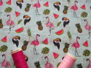 Tropical Fruit & Flamingos on a Mint Background Digital Print 100% Cotton