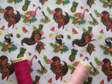 Load image into Gallery viewer, Tropical Fruit Flamingos & Pretty Little Hula Dancers on a White Background Digital Print 100% Cotton
