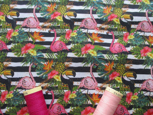 Tropical Flowers & Flamingos Black Stripes on a White Background Digital Print 100% Cotton