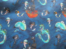 Load image into Gallery viewer, Pirates Mermaids Whales & Dragons on a Petrol Blue Background Digital Print 100% Cotton