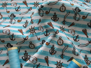 Pirates & Nautical Notions Aqua Stripes on a White Background Digital Print 100% Cotton
