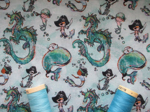 Pirates Mermaids Whales & Dragons on a Aqua Background Digital Print 100% Cotton