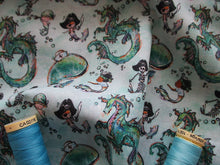 Load image into Gallery viewer, Pirates Mermaids Whales & Dragons on a Aqua Background Digital Print 100% Cotton