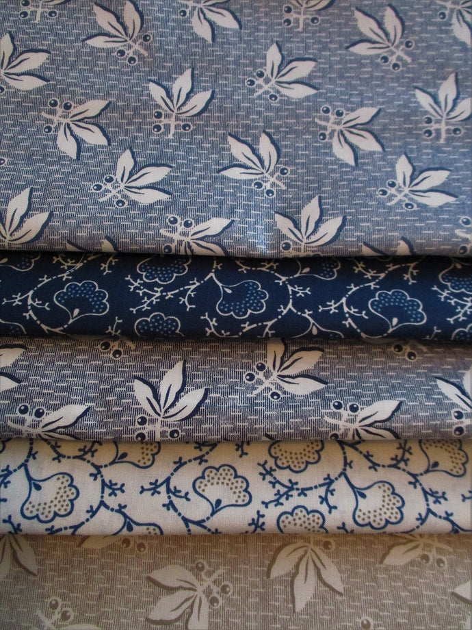 Clothworks Vine Leaves & Berries Denim, Navy & Beige Fat Quarter Bundle  100% Cotton
