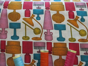 Retro Lampshades on a White Background 100% Cotton