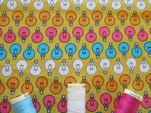Load image into Gallery viewer, Retro Lightbulbs on a Mustard Background 100% Cotton