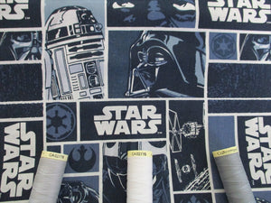 Star Wars Classic Blocks Shades of Blue 100% Cotton