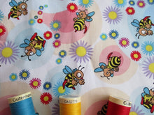 Load image into Gallery viewer, Happy Busy Bees & Blue & Pink Circles on a White Background 100% Cotton