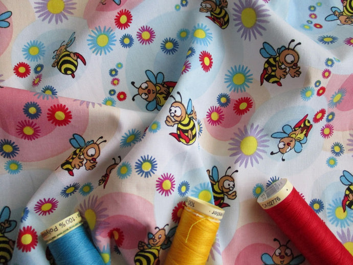 Happy Busy Bees & Blue & Pink Circles on a White Background 100% Cotton