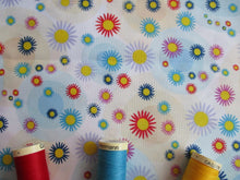 Load image into Gallery viewer, Bright Multi Color Flower Heads & Blue Circles on a White Background 100% Cotton