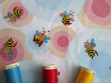 Load image into Gallery viewer, Happy Busy Bees & Pink & Blue Circles on a White Background 100% Cotton