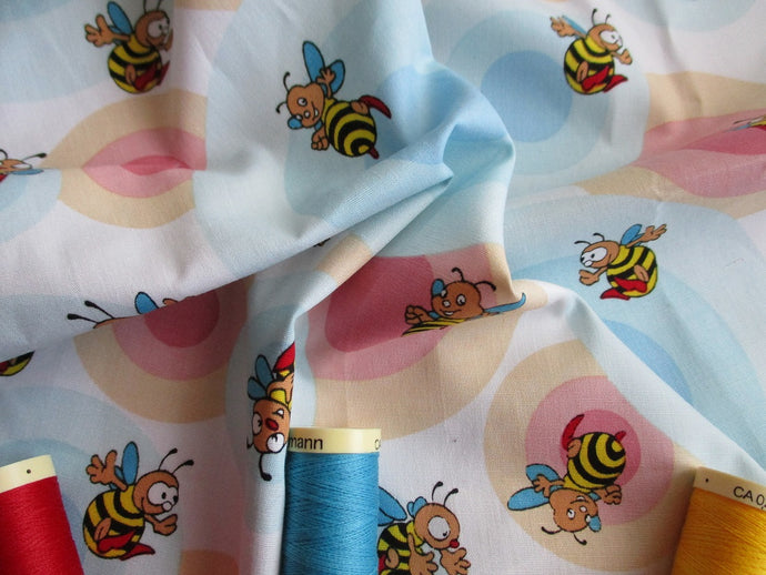 Happy Busy Bees & Pink & Blue Circles on a White Background 100% Cotton