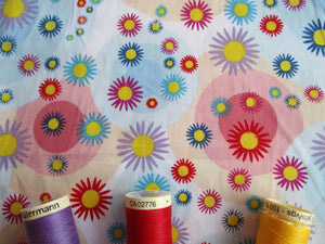 Bright Multi Color Flower Heads & Pink Circles on a White Background 100% Cotton