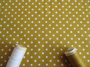 White Polka Dots 3mm on a Mustard Gold Background 100% Cotton