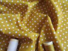 Load image into Gallery viewer, White Polka Dots 3mm on a Mustard Gold Background 100% Cotton