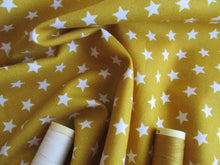 Load image into Gallery viewer, Stars White 8mm on a Mustard Gold Background 100% Cotton