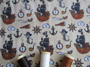 Pirate Ships & Nautical Notions on a Beige Background Digital Print 100% Cotton
