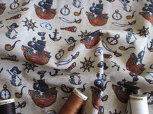 Load image into Gallery viewer, Pirate Ships & Nautical Notions on a Beige Background Digital Print 100% Cotton