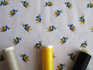 Life Size Bees on a Light Beige Background Digital Print 100% Cotton
