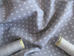 White Polka Dots 3mm on a Silver Grey Background 100% Cotton