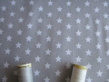 Load image into Gallery viewer, Stars White 8mm on a Silver Grey Background 100% Cotton
