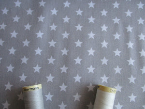 Stars White 8mm on a Silver Grey Background 100% Cotton