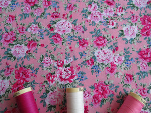 Vintage Floral on a Candy Pink Background 100% Cotton