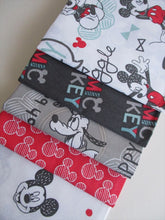 Load image into Gallery viewer, Disney 5 Mickey Mouse Designs Fat Quarter Bundle 100% Cotton