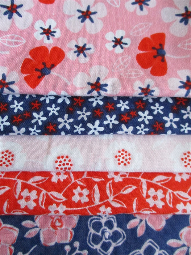 Navy Pink & Orange Floral Fat Quarter Bundle 100% Cotton