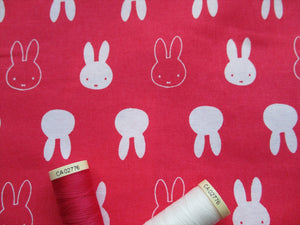 Miffy Silhouette Bright Pink & White 100% Cotton