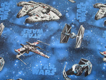 Load image into Gallery viewer, Star Wars Ships on a Bright Blue Background 100% Cotton