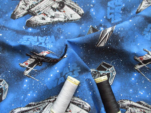 Star Wars Ships on a Bright Blue Background 100% Cotton