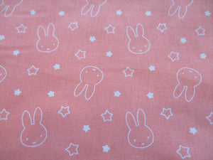 Miffy & Stars on a Peach Background 100% Cotton