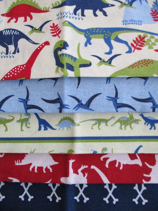 Dinosaurs Land Fat Quarter Bundle 100% Cotton