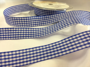 Gingham Cut Edge Ribbon 15mm Wide in 8 Shades