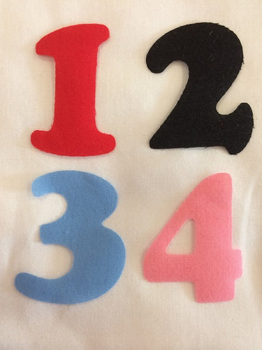 Iron on Fabric Applique Numbers 4 Colors