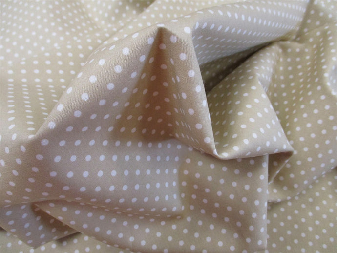 White 3mm Polka Dots on a Light Beige Background 100% Cotton Fabric