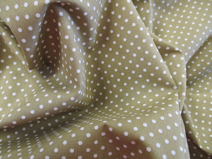 White 3mm Polka Dots on a Vintage Green Background 100% Cotton Fabric