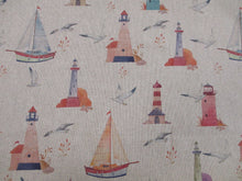 Load image into Gallery viewer, Linen Nautical Lighthouses & Sailing Boats on a Natural Background  80% Cotton 20% Polyester