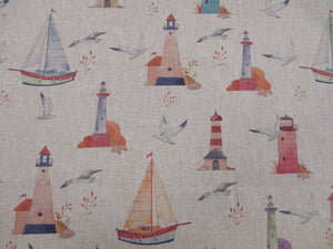 Linen Nautical Lighthouses & Sailing Boats on a Natural Background  80% Cotton 20% Polyester