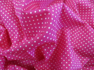 White 3mm Polka Dots on a Cerise Pink Background 100% Cotton Fabric