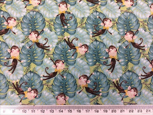 Jungle Cheeky Monkeys 100% Cotton Fabric