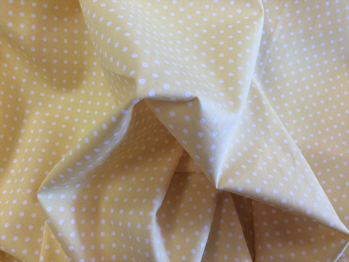 White 3mm Polka Dots on a Cream Background 100% Cotton Fabric