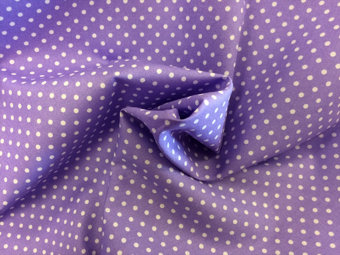 White 3mm Polka Dots on a Lilac Background 100% Cotton Fabric