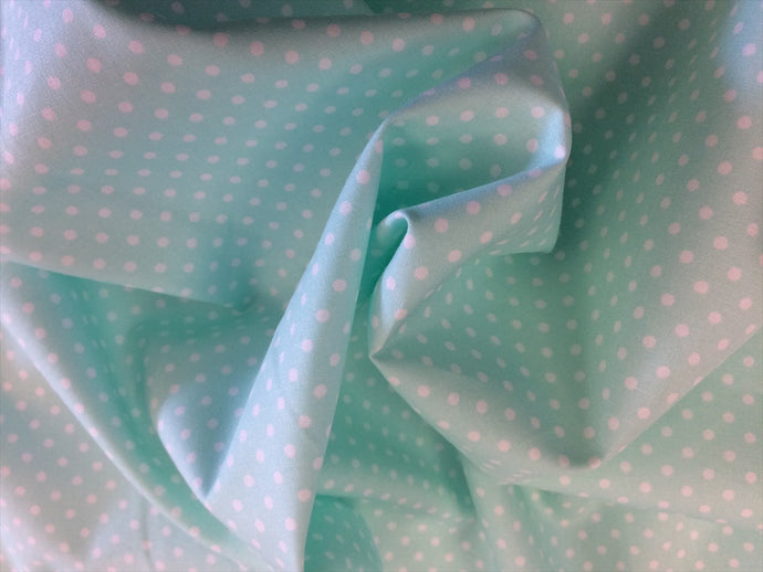 White 3mm Polka Dots on a Mint Background 100% Cotton Fabric