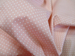 White 3mm Polka Dots on a Pale Pink Background 100% Cotton Fabric