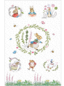 Beatrix Potters Peter Rabbit and Friends Panel - All Characters on a Ivory Background